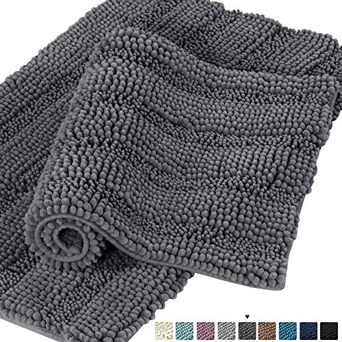 - Non Slip Shaggy Chenille Bathroom Rugs Bathroom Rug Sets 2 Piece Bath Mat Set Extra Absorbent Floor Mats Bath Rugs Set for Kitchen/Living Room Striped Pattern Rugs, 20x32 Inch & 17x24 Inch, Gray
