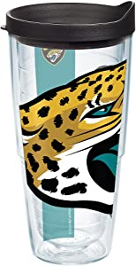 Tervis 1099424 NFL Jacksonville Jaguars Colossal Tumbler with Wrap and Black Lid 24oz, Clear