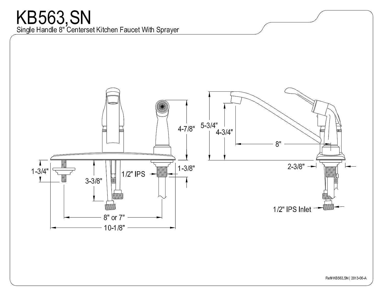 Polished Chrome 8-Inch Kingston Brass KB563 Wyndham Single Loop Handle Kitchen Faucet with Deck Black Sprayer