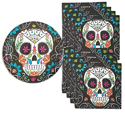 Day of The Dead Dia De Los Muertos Sugar Skull Party Supplies Paper Plate and Napkin Bundle - Service for 8 -