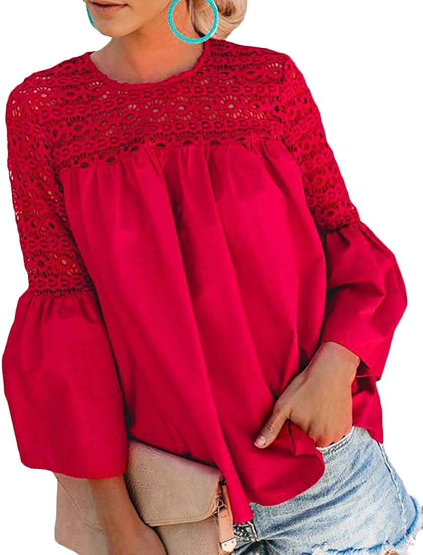 Smallwin Womens Flared Sleeve Casual Lace Crew Neck Pleated Top Blouse T-Shirts