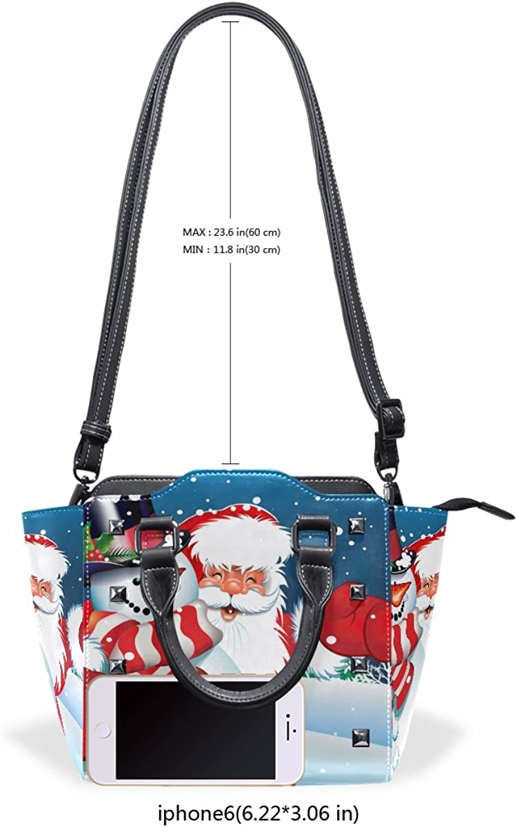Sunlome Christmas Santa And Snowman Pattern Handbags Womens Leather Tote Shoulder Bags