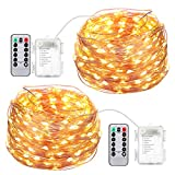 AMIR Fairy String Lights, 16.4ft 50 Led Starry Lights Remote Control, 8 Modes Waterproof Decorative Lights Battery Operated Garden Wedding Christmas (Battery Not Included - 2 Pack)