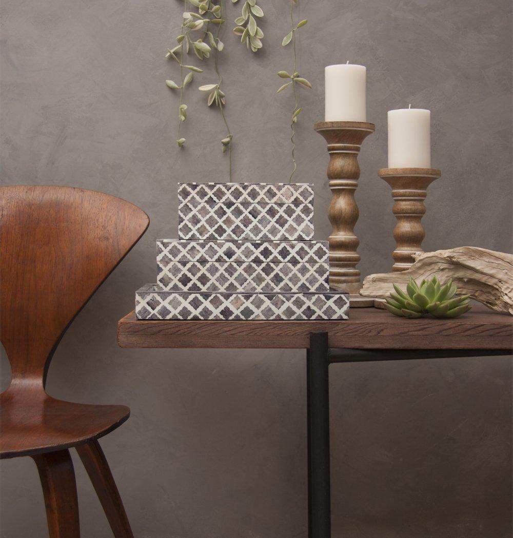 Mela Artisans MATR333 Fantasy Decorative Tray, Medium, Grey