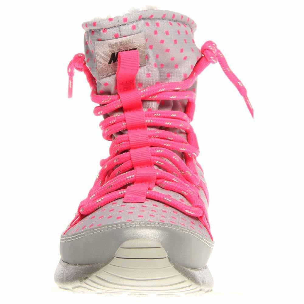 db78542bf8a2 Amazon.com  Nike Rosherun Flash Girls Youth Wolf Grey Black Hyper  Pink Silver Hi Sneakers Boots  Shoes