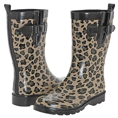 Natural Leopard Shiny Combo New Printed Capelli Simple Women's Boot York Rain FznR4