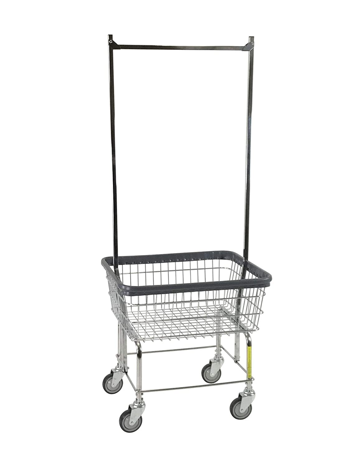 R B Wire 96B58 Light-Duty Wire Frame Metal Laundry Cart with Double Pole Rack – Chrome