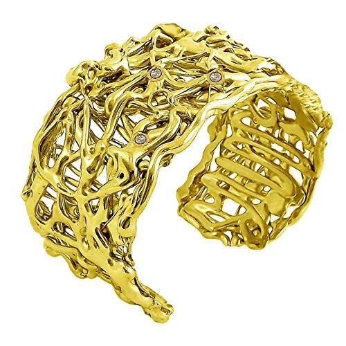 "V.M. Preziosi Firenze Bracelet ""Big Yellow"" en laiton plaqué or et cristaux Swarovski"
