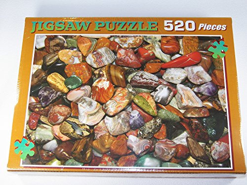Fundamental Rockhound Products: Tumbled Gemstone Stones Jigsaw Puzzle 520 pc - Tiger Eye, Crazy Lace, Amethyst, Jasper, Agate, Unakite, Petrified wood