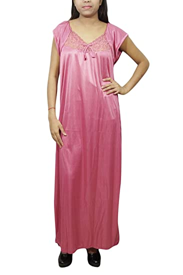 54cd57a7fc Indiatrendzs Women Bridal Wear Gown Solid 2pc Pink Satin Nighty with Robe M   Amazon.in  Clothing   Accessories