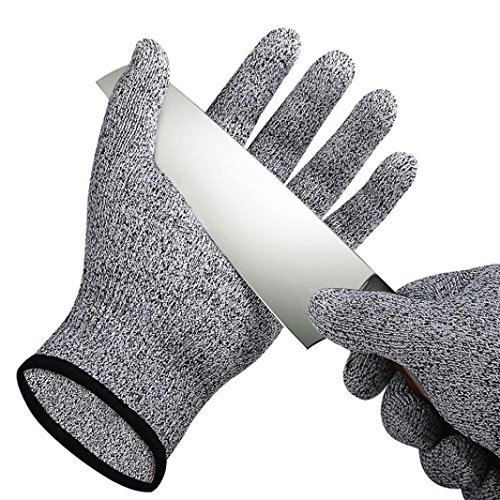 Coohole Handyman Work Gloves Cut Resistant Tough Stretchable Gloves Food Grade Level 5 Protection Working Cutting Excellent Grip (Black, M) ()