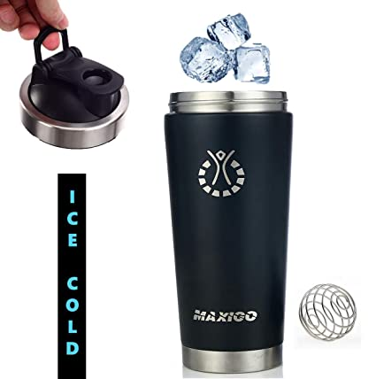 Amazon.com: MAXIGO Stainless Steel shaker Bottle, Insulated ...