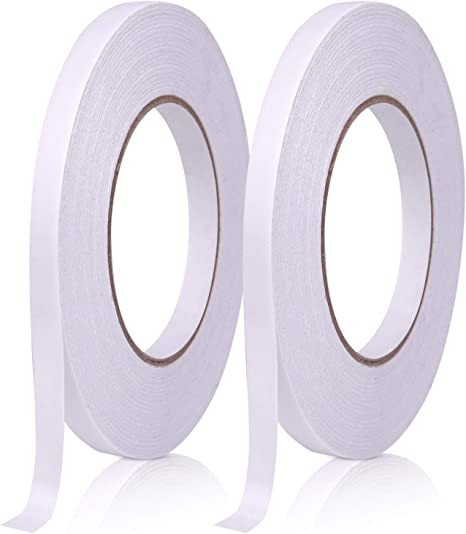 Kuuqa 2 Rolls Self Adhesive Double Sided Tape for Craft Class Office DIY Meter