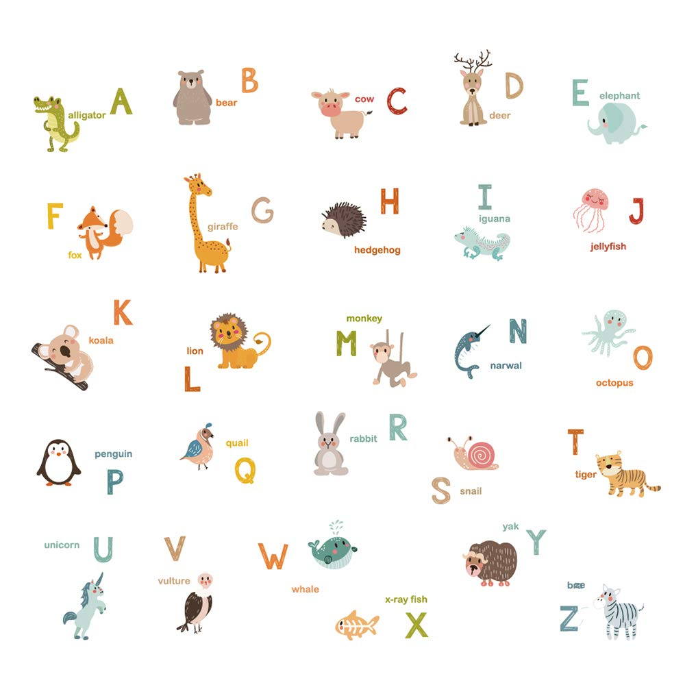 decalmile Alphabet ABC and Animals Wall Decals Classroom Kids Room Wall Decor Removable Wall Stickers for Kids Bedroom Nursery Baby Room by decalmile (Image #1)