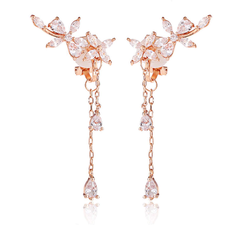 Clip on Earrings non Pierced Fringe Dangle Tassel Drop Cubic Zirconia Flower Women Girls Rose Gold by Latigerf