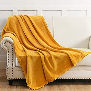 NordECO HOME Flannel Throw Blanket - Soft Cozy Warm Blanket with Pompom Fringe for Couch Bed Sofa Chair, 50