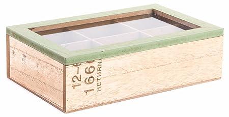 Item Caja para infusiones, Madera, Beige y Verde, 24 x 15 x 7 cm ...