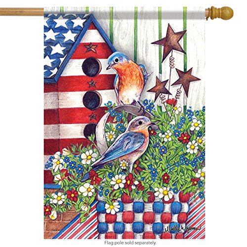 Carson Home Accents Outdoor Flag, Patriotic Bluebirds, Large