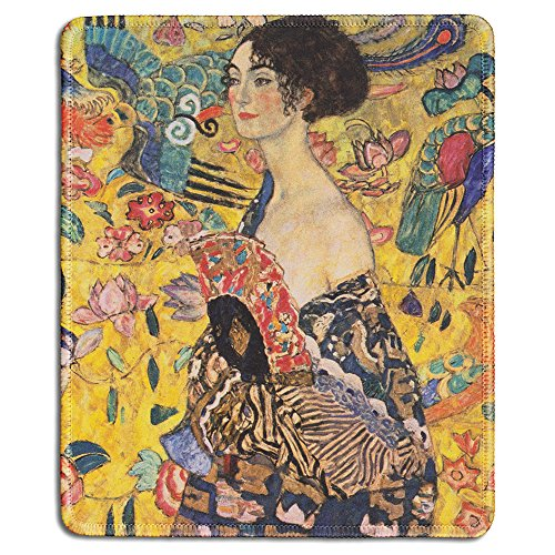 dealzEpic - Art Mousepad - Natural Rubber Mouse Pad with Famous Fine Art Painting of Woman with Fan by Gustav Klimt - Stitched Edges - 9.5x7.9 inches