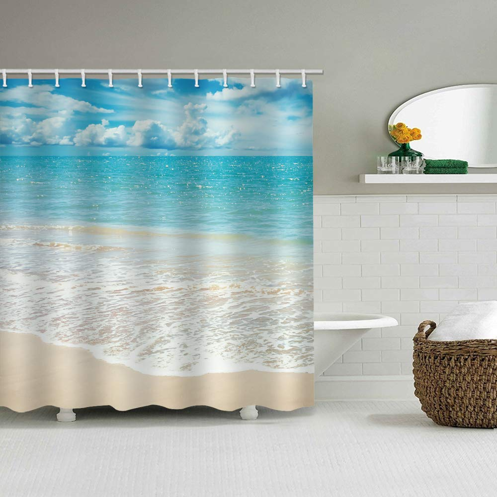 DEQI Sea Wave Beach Waterproof Shower Curtain Blue Ocean Bathroom