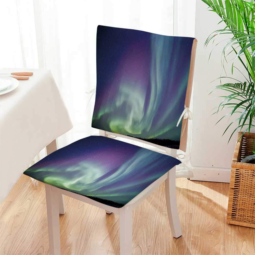 Mikihome Chair Pads 2 Piece Set Exquisite Atmosphere Solar Starry Skying Night Green Dark Blue Violet Garden Home Kitchen Mat:W17 x H17/Backrest:W17 x H36