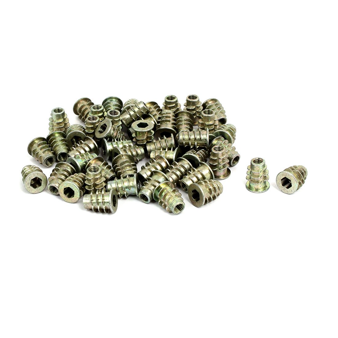 uxcell M5x14mm Interface Hex Socket Threaded Insert Nuts 50pcs for Wood Furniture
