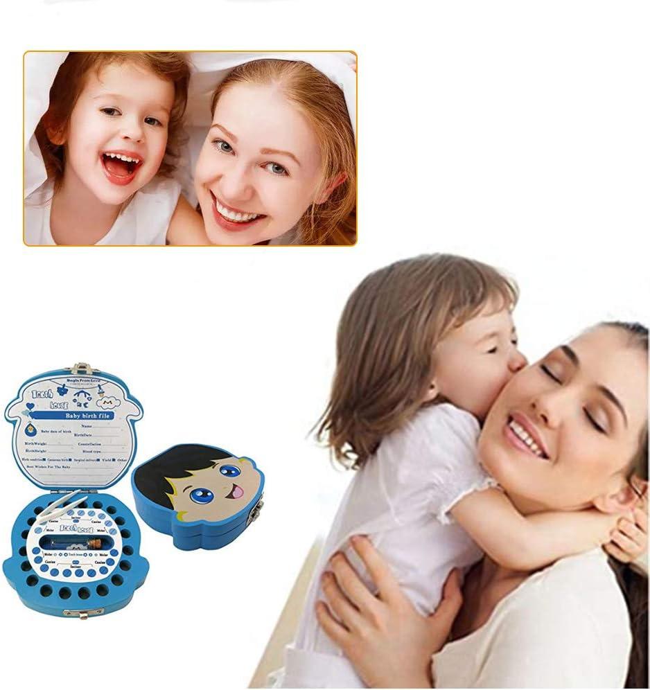 Rosado Caja Para Dientes,Caja Para Dientes de Leche Personalizada,Caja Para Guardar Dientes Para Ni/ños y Ni/ñas,Caja de Madera Para Guardar Dientes