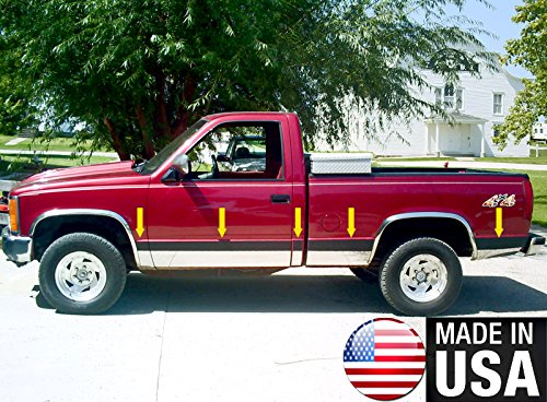 Made in USA! Works with 1988-1998 GMC Pickup Full Size Short Bed Rocker Panel Trim 6.25