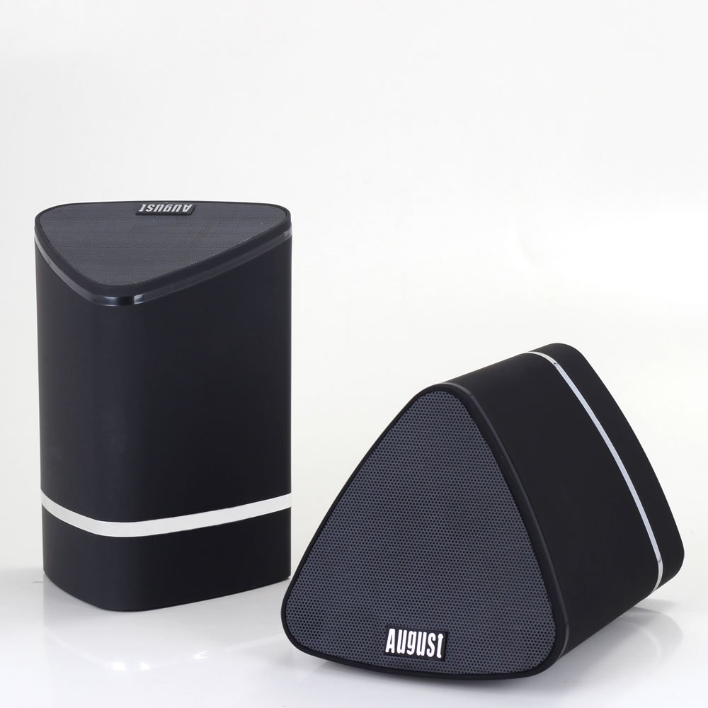 August MS625 - Stereo Bluetooth Speaker Pair - TWS (True Wireless Stereo) Speakers for Home TVs, all Mobile Phones, Laptops, PCs, iPods - with Internal Battery for 15 Hours - Black