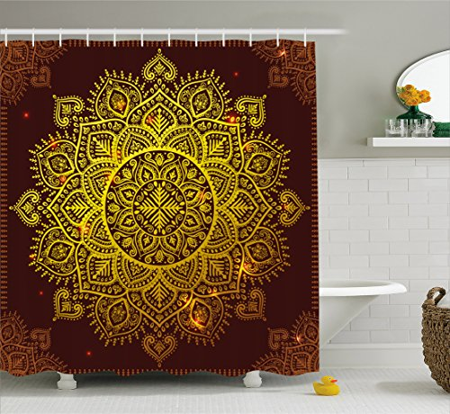 Ambesonne Mandala Shower Curtain, Ornamental Snowflake Floral Ethnic Traditional Arabian Oriental Graphic Artwork, Fabric Bathroom Decor Set with Hooks, 70 inches, Yellow Brown by Ambesonne