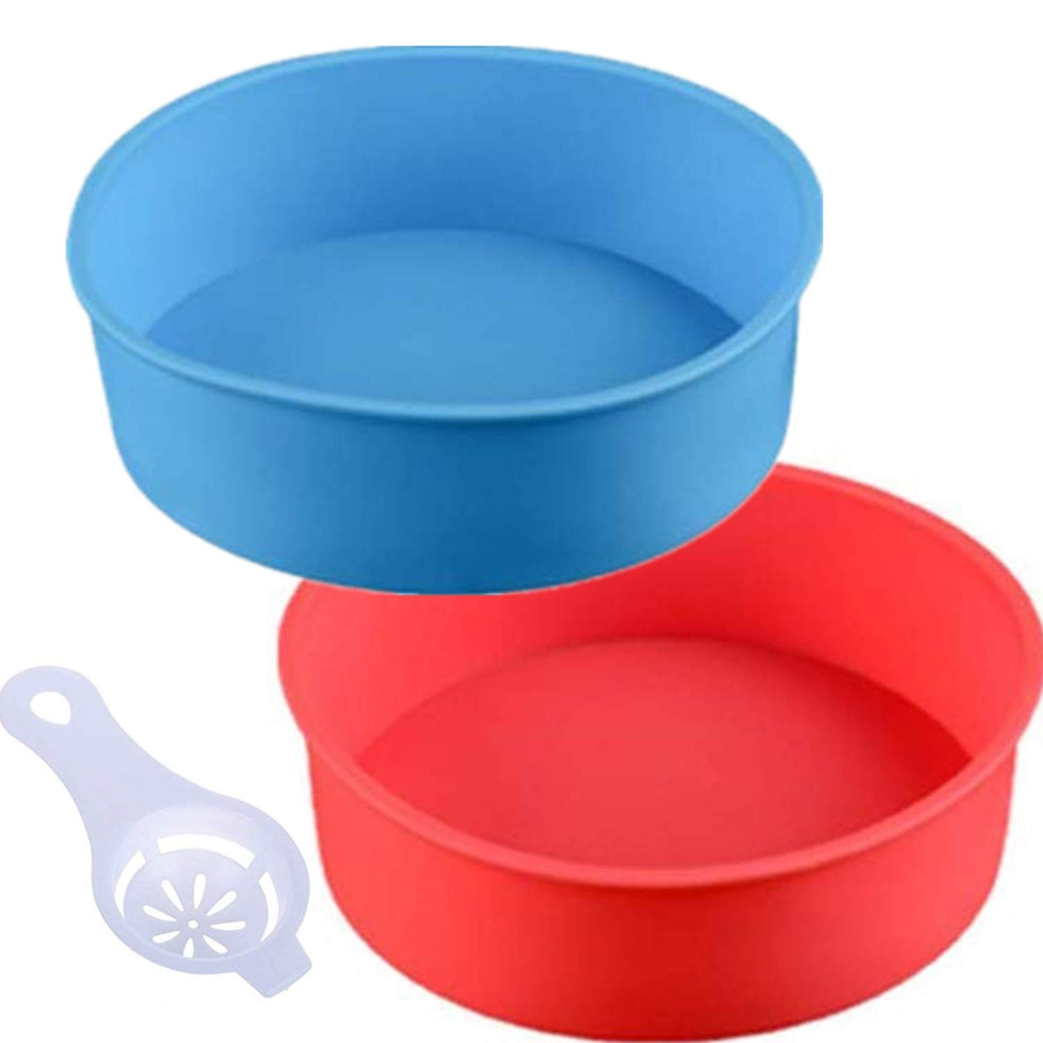 Round Silicone Cake Pan Baking Mold 6 Inches - Set of 2 - BPA-Free - Kitchen Baking Tool Red and Blue with Egg White Separator by zswell