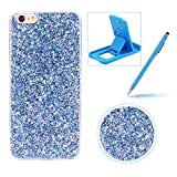 Glitter Case for iPhone 6S Plus,Rubber Cover for iPhone 6 Plus,Herzzer Ultra Thin Slim Luxury Pretty [Blue Sequins] Sparkle Diamond Soft Gel Silicone Clear Bumper Back Cover