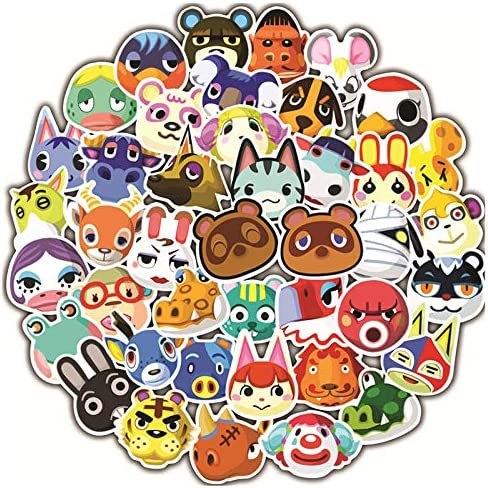Animal Crossing Sticker Packs, Waterproof Vinyl Game Stickers for Teens and Kids, 50 Pack Cute Decal Stickers for Laptop Hydro Flask Guitar Travel Case Luggage Bike