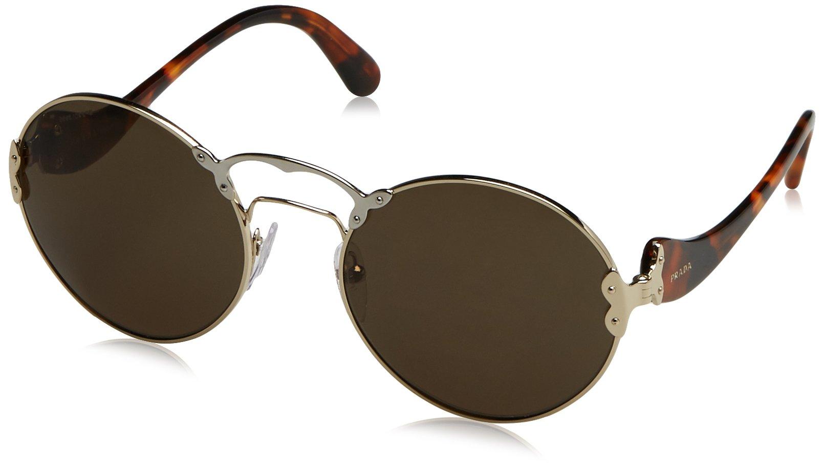 Prada Women's 0PR 55TS Pale Gold/Silver/Green Sunglasses, 57mm