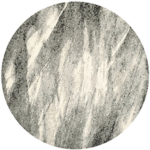Safavieh Retro Collection RET2891-8012 Modern Abstract Grey and Ivory Round Area Rug (6' Diameter)