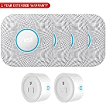 Nest S3003LWES Protect Wired Smoke and Carbon Monoxide Alarm White, 2nd Gen (4-Pack) + 2 Pack WiFi Smart Plug + 1 Year Extended Warranty