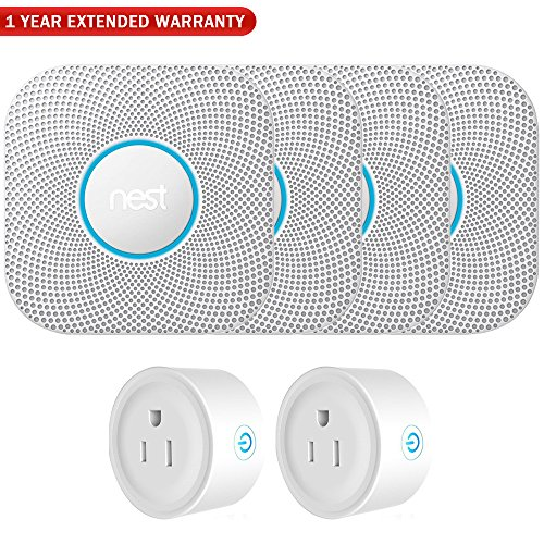 Nest S3003LWES Protect Wired Smoke Carbon Monoxide Alarm White, 2nd Gen (4-Pack) + 2 Pack WiFi Smart Plug + 1 Year Extended Warranty