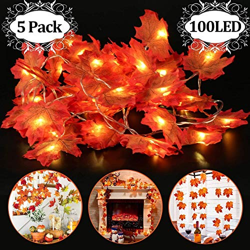 5 Pack Fall Maple Leaves String Light, 50 Feet 100 LED Light Fall Wreath Garland Decorations for Thanksgiving Harvest Autumn Party Christmas Indoor Outdoor Home Patio Garden Battery Powered by Qiwoo