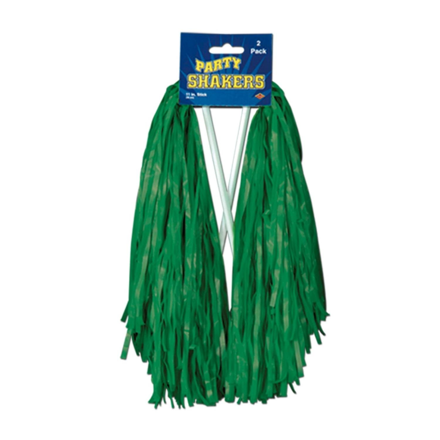 Club Pack of 48 Pre-Packaged Kelly Green Football Themed School Spirt Poly Shakers 12''