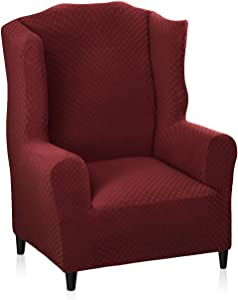 MAXIJIN Newest Jacquard Wingback Chair Covers 1-Piece Stretch Wing Chair Covers Soft Thick Wingback Armchair Slipcover Non-Slip Chair Furniture Protector Cover Washable (Wing Chair, Wine Red)