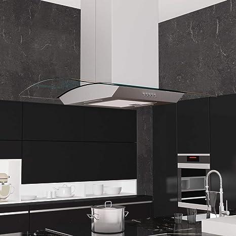Zora Walter Campana extractora de Techo 90 cm Acero Inoxidable 756 m³/h LED Electrodomésticos de Cocina con un Filtro de Grasa de Aluminio Lavable de 3 Capas: Amazon.es: Hogar