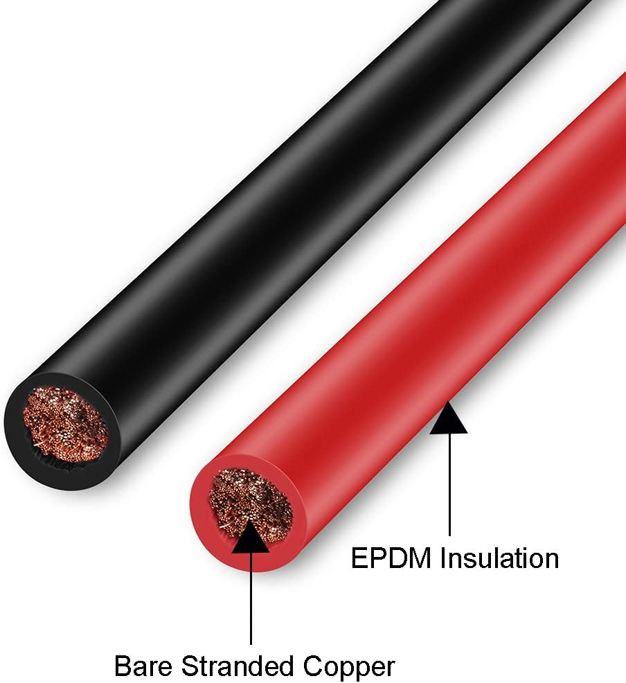 Jtron Car Battery Copper Cables 10AWG 10 Gauge Inverter Wires Black+Red 1.64 ft Welding Battery Pure Wires Flexible Water Resistant Car Copper Wire with 4 Marine Battery Lugs for Car Truck