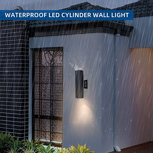 Outdoor Wall Lamp Light Fixture LED Porch Sconce Cylinder Light Lamp Wall Mount 60W Waterproof Up Down Light for Garden Patio Bedroom Living Room Night Black No Bulbs