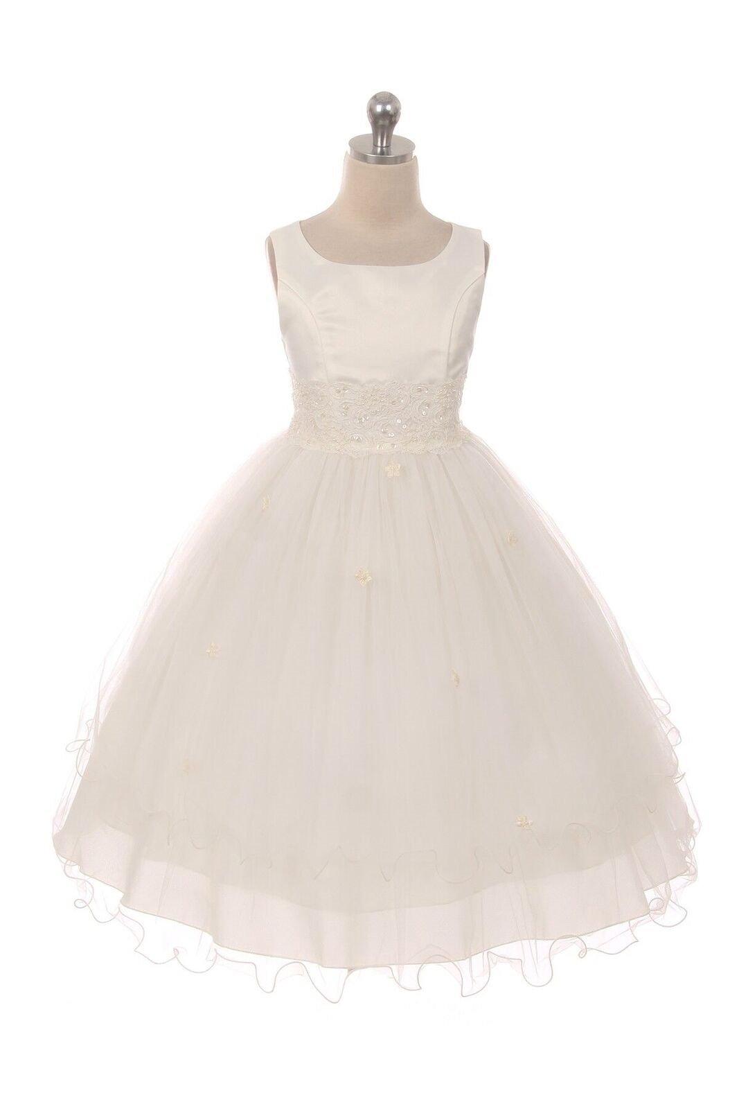 Kid's Dream Flower Girl Communion Dress for Girls - Satin Tulle Dress with Elegant Lace Trim - Size 8, Ivory