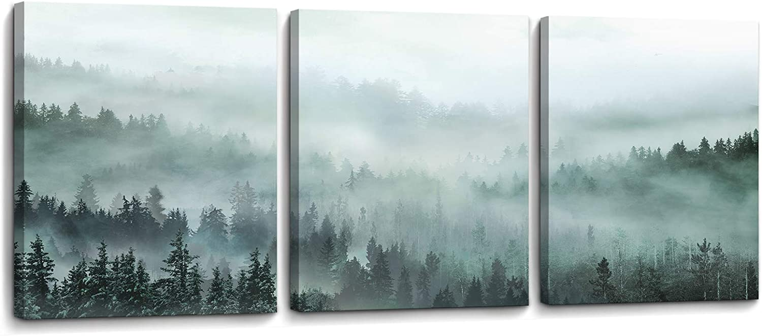 3 Piece Wall Art for Living Room Misty Forests Print Picture Framed Canvas Artwork Wall Decor for Bathroom Bedroom Modern Room Landscape Decorations Size 12x16 inches x 3 Panel Ready to Hang
