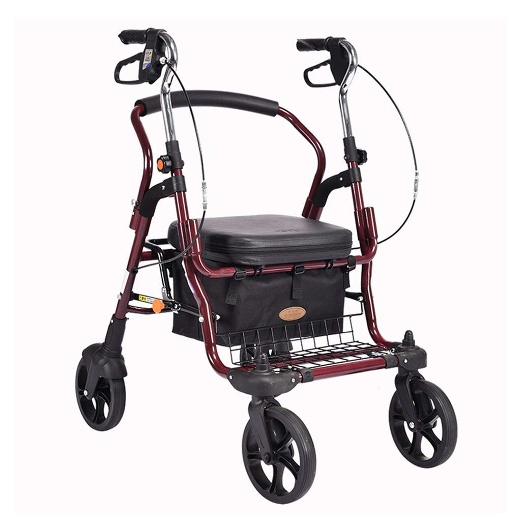 Medical Aluminum Rolling Walkers Trolley Old Man Rehabilitation Exercise Cart Portable Walker Folding Wheelchair with Seat Grocery Shopping Cart Gift PNYGJZXQ by PNYGJZXQ