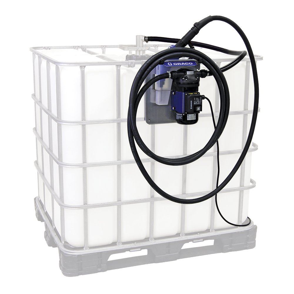 Graco 24V645 LD Blue Electric Diesel Exhaust Fluid (DEF) Tote Pump Package with Auto Nozzle, 120V, 9 gpm Max Flow Rate