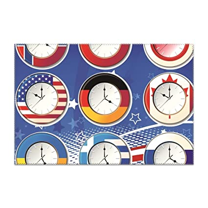 Remarkable Amazon Com Gredbh Placemats For Dining Table Flag Clock Of Download Free Architecture Designs Scobabritishbridgeorg