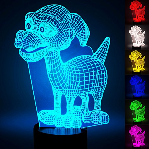 Dog Led Night Light (3D Dog Lamp, Optical Illusion Night Light for Nursery / Decor / Bedroom, 7 Colors Changing Puppy Dog Toys and Gifts for Kids / Baby / Birthday by YKL WORLD)
