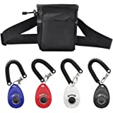 Dog Treat Training Pouch Bag with Adjustable Strap and Four Training Clickers